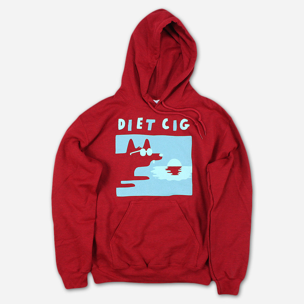 Dog Beach Cherry Red Hooded Sweatshirt - Diet Cig - Hello Merch