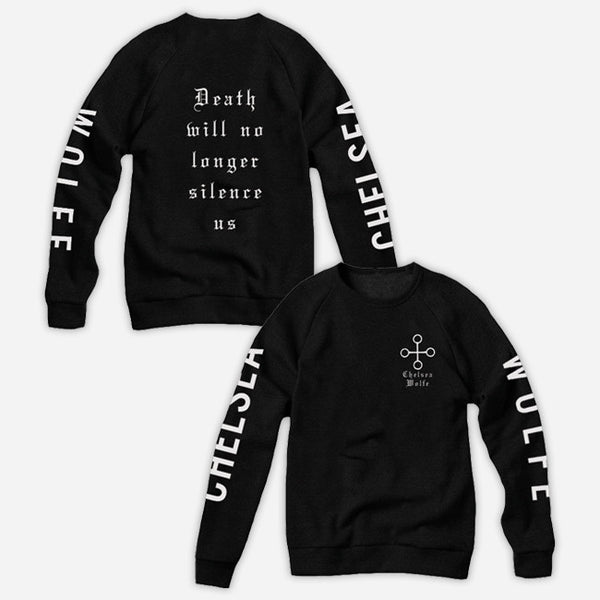 Death Black Crew Neck Pullover Sweatshirt by Chelsea Wolfe for sale on hellomerch.com