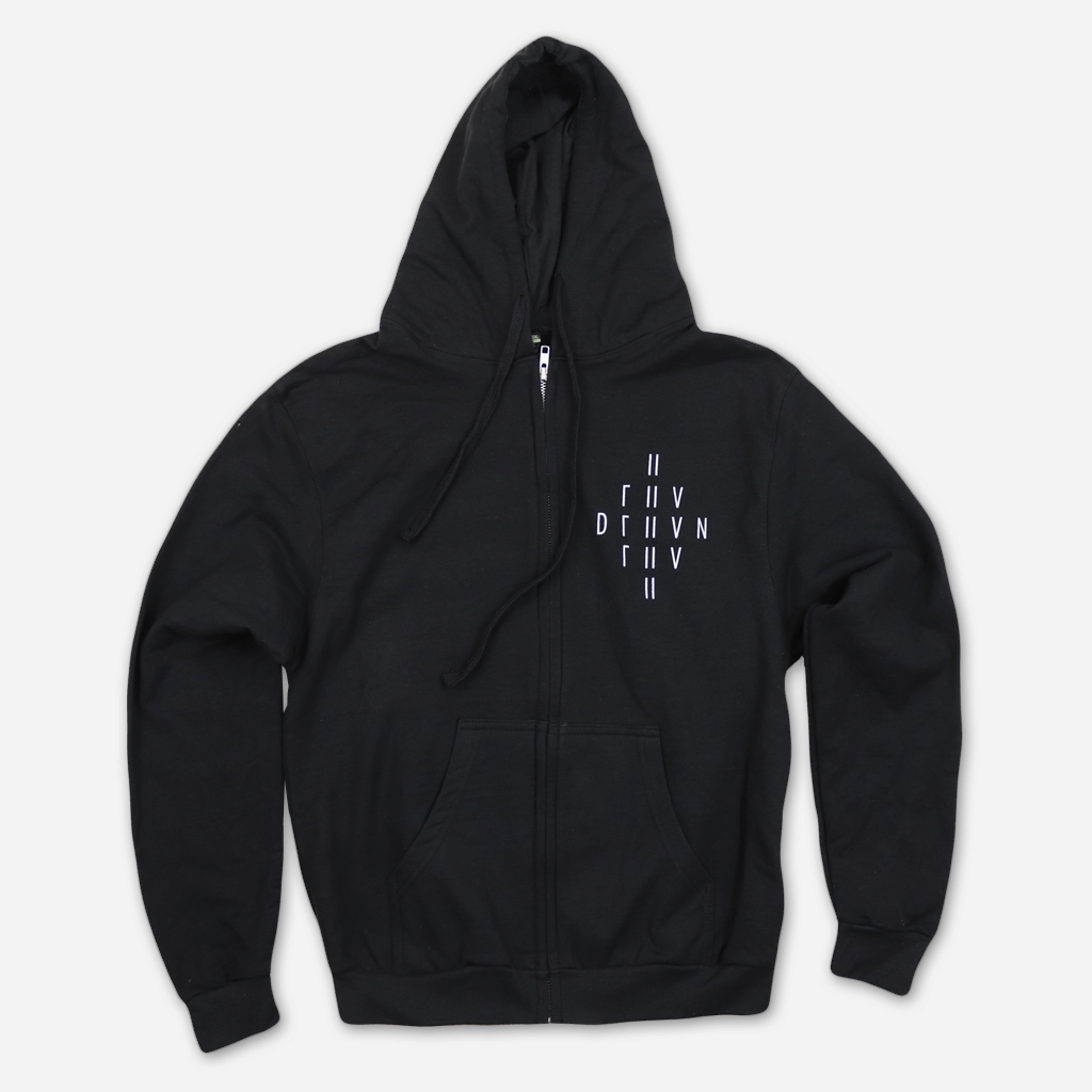 2018 Black Hooded Zip Sweatshirt