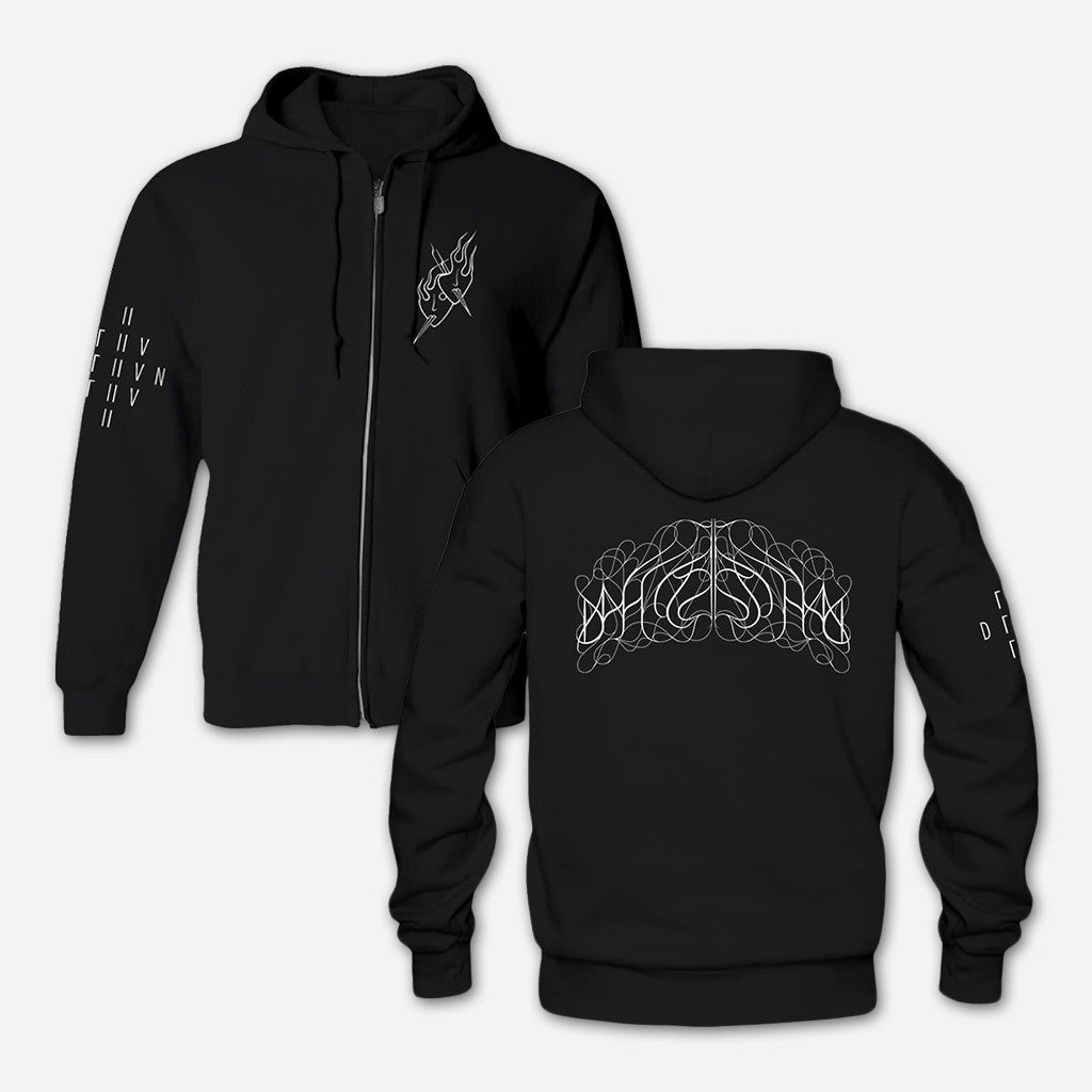 Two Masks Black Hooded Zip Sweatshirt - Deafheaven - Hello Merch