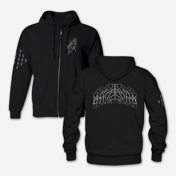 Two Masks Black Hooded Zip Sweatshirt by Deafheaven for sale on hellomerch.com