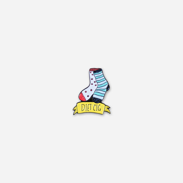 Mismatched Socks Enamel Pin by Diet Cig for sale on hellomerch.com