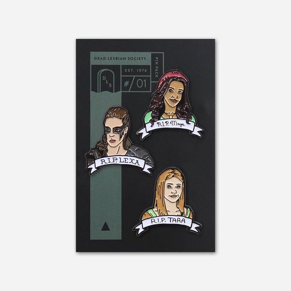 The Dead Lesbian Society Pin Pack #01 : Maya, Lexa, & Tara by Autostraddle for sale on hellomerch.com