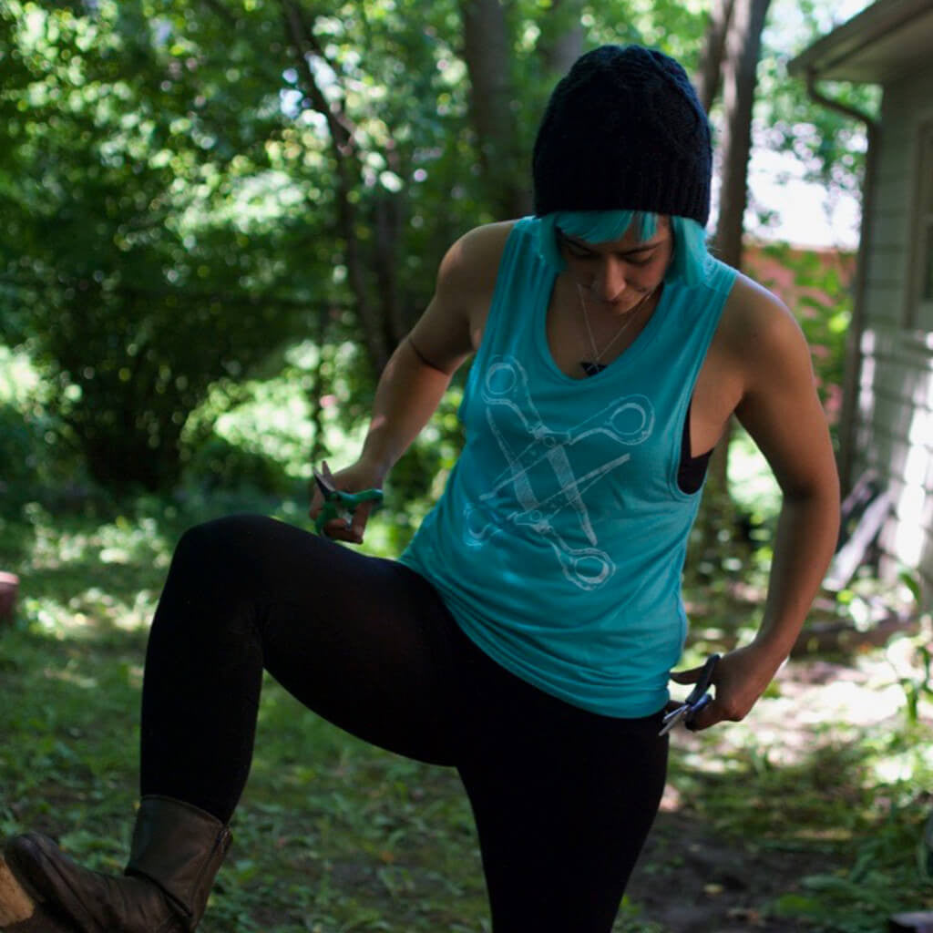 Basic Scissoring Turquoise Muscle Tank - Autostraddle - Hello Merch