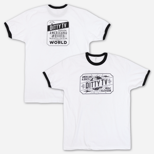 Classic Ringer White T-Shirt by Ditty TV for sale on hellomerch.com