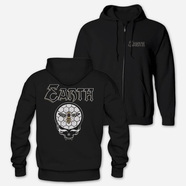 Honey Skull Black Zip Hoodie by Earth for sale on hellomerch.com