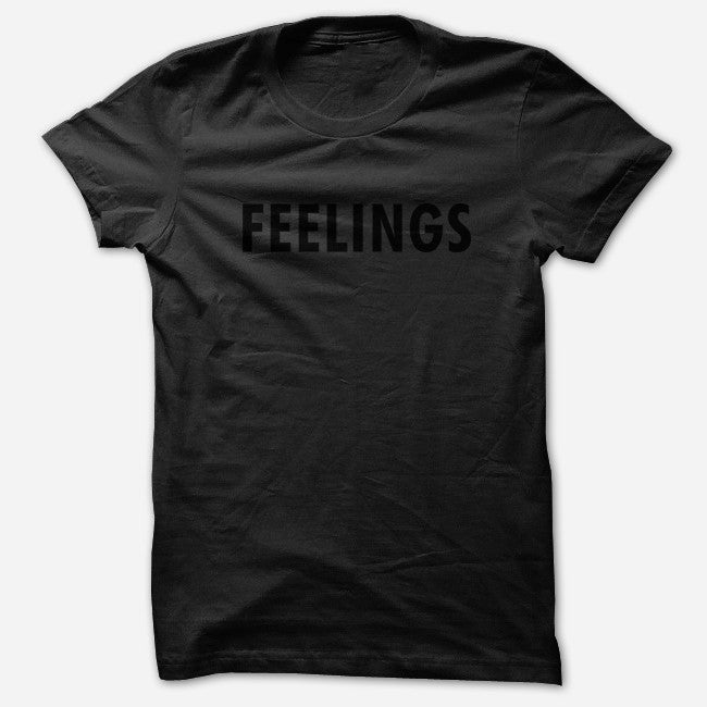 Feelings Black Poly-Cotton T-Shirt