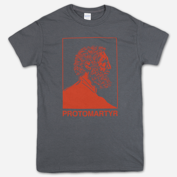 Face Charcoal T-Shirt by Protomartyr for sale on hellomerch.com