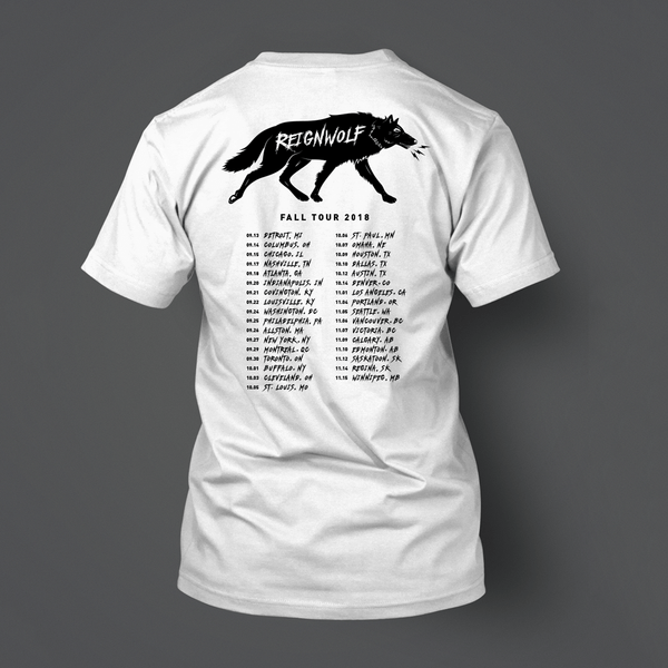 Fall Tour 2018 White T-Shirt by Reignwolf for sale on hellomerch.com