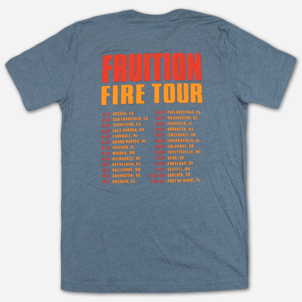 Flaming Man Unisex Heather Blue T-Shirt - Fruition - Hello Merch