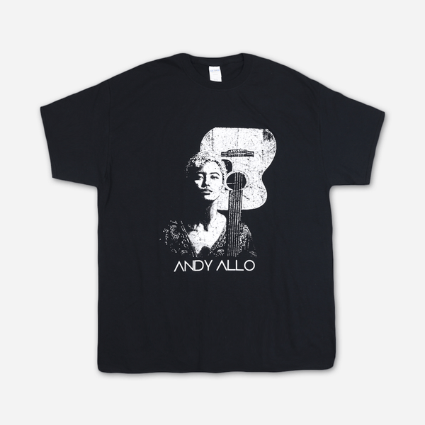 Guitar Black T-Shirt by Andy Allo for sale on hellomerch.com