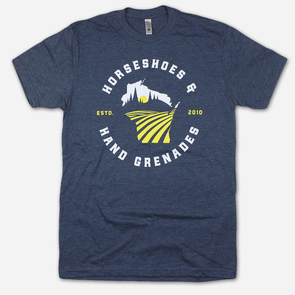 Wisco Navy Poly-Cotton T-Shirt by Horseshoes and Hand Grenades for sale on hellomerch.com