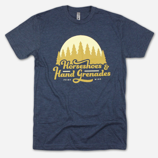 Woods Navy Poly-Cotton T-Shirt by Horseshoes and Hand Grenades for sale on hellomerch.com