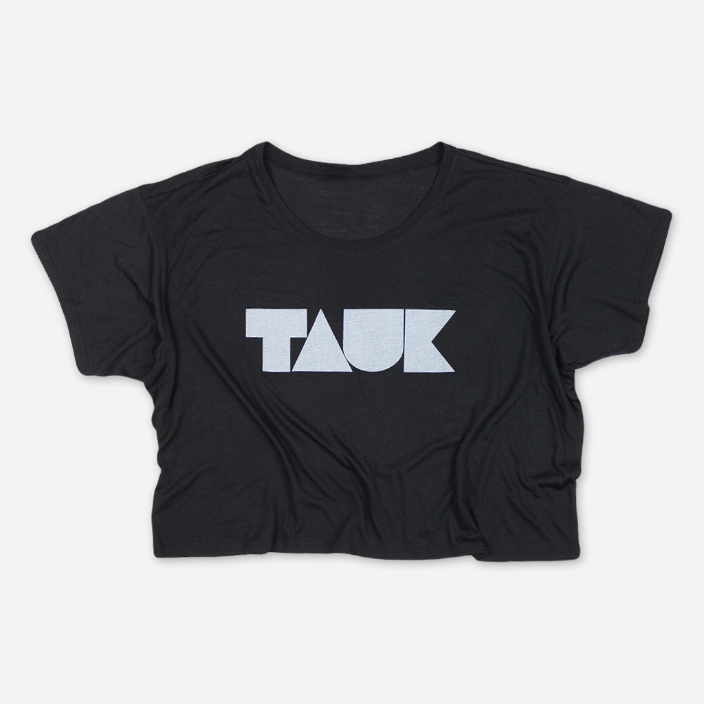 Headroom Logo Womens Black Crop Top - TAUK - Hello Merch