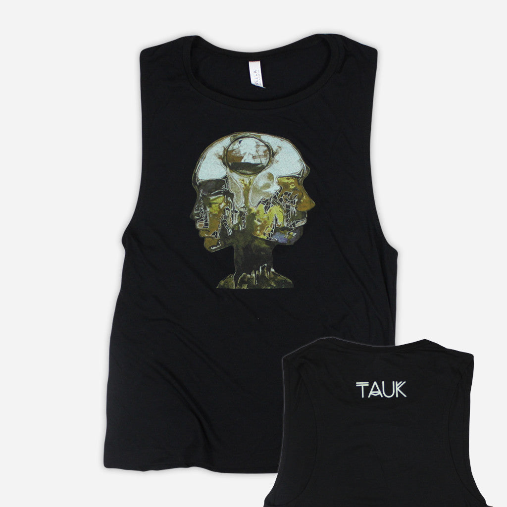 Heads Womens Black Flowy Scoop Muscle Tee - TAUK - Hello Merch