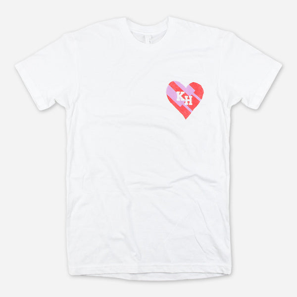 Paper Mache Heart White T-Shirt by Kenny Holland for sale on hellomerch.com