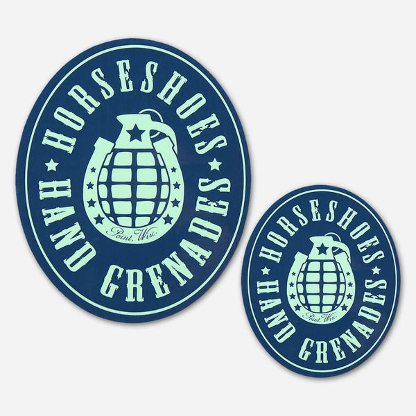 Logo Stickers by Horseshoes and Hand Grenades for sale on hellomerch.com