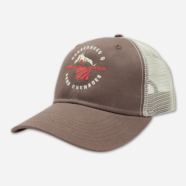Wisco Brown Trucker Hat by Horseshoes and Hand Grenades for sale on hellomerch.com