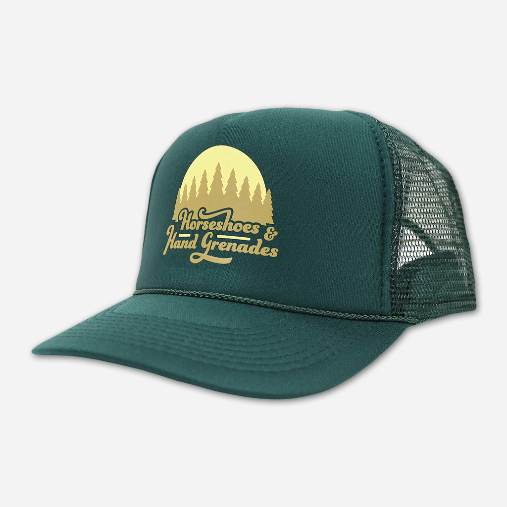 Tree Line Green Trucker Hat - Horseshoes and Hand Grenades - Hello Merch
