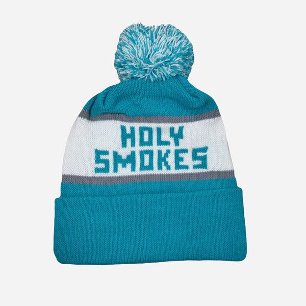 Adebisi Hat: HOLY SMOKES Teal Knit Hat With Pom
