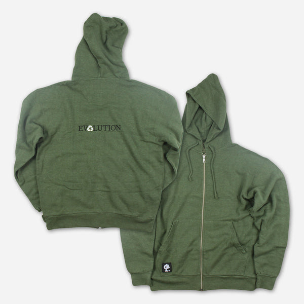Evolution Green Zip Up Hoodie by Medeski Martin & Wood for sale on hellomerch.com