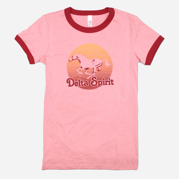 Horse Womens Red Ringer Poly-Cotton T-Shirt by Delta Spirit for sale on hellomerch.com