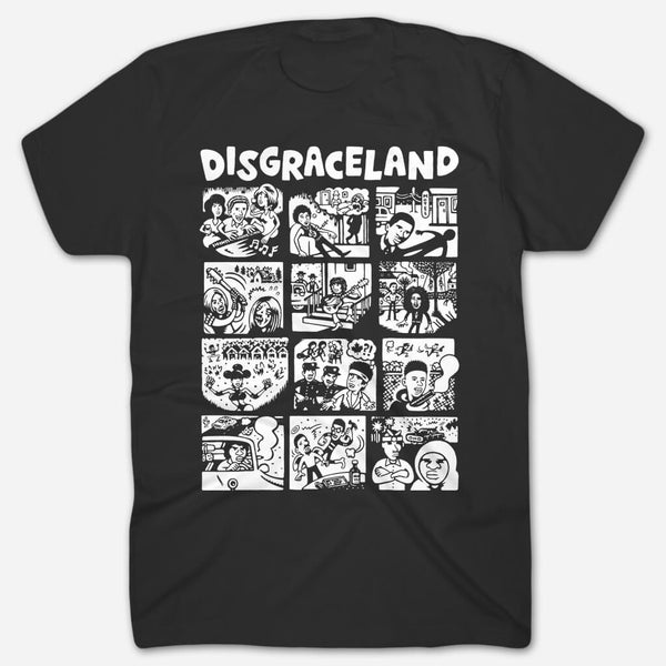 Illustrated Black T-Shirt by Disgraceland for sale on hellomerch.com
