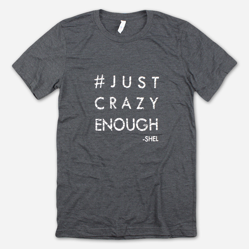 Just Crazy Enough Dark Grey Poly-Cotton T-Shirt
