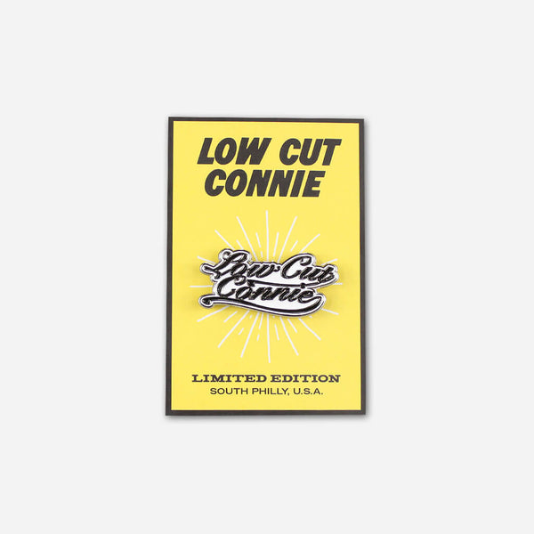 LCC Script Pin by Low Cut Connie for sale on hellomerch.com
