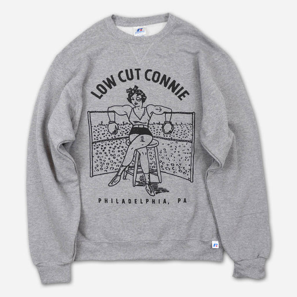 Boxing Girl Heather Grey Pullover Sweatshirt by Low Cut Connie for sale on hellomerch.com