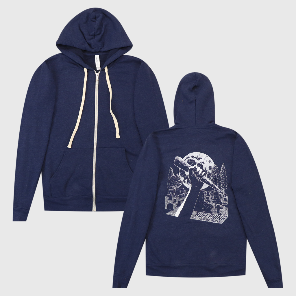 Buffering Logo Drawing Navy Tri-Blend Zip Hoodie