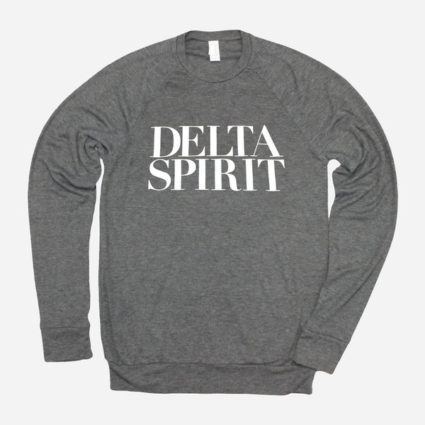 Delta Spirit Logo Heather Grey Poly-Cotton Long Sleeve by Delta Spirit for sale on hellomerch.com