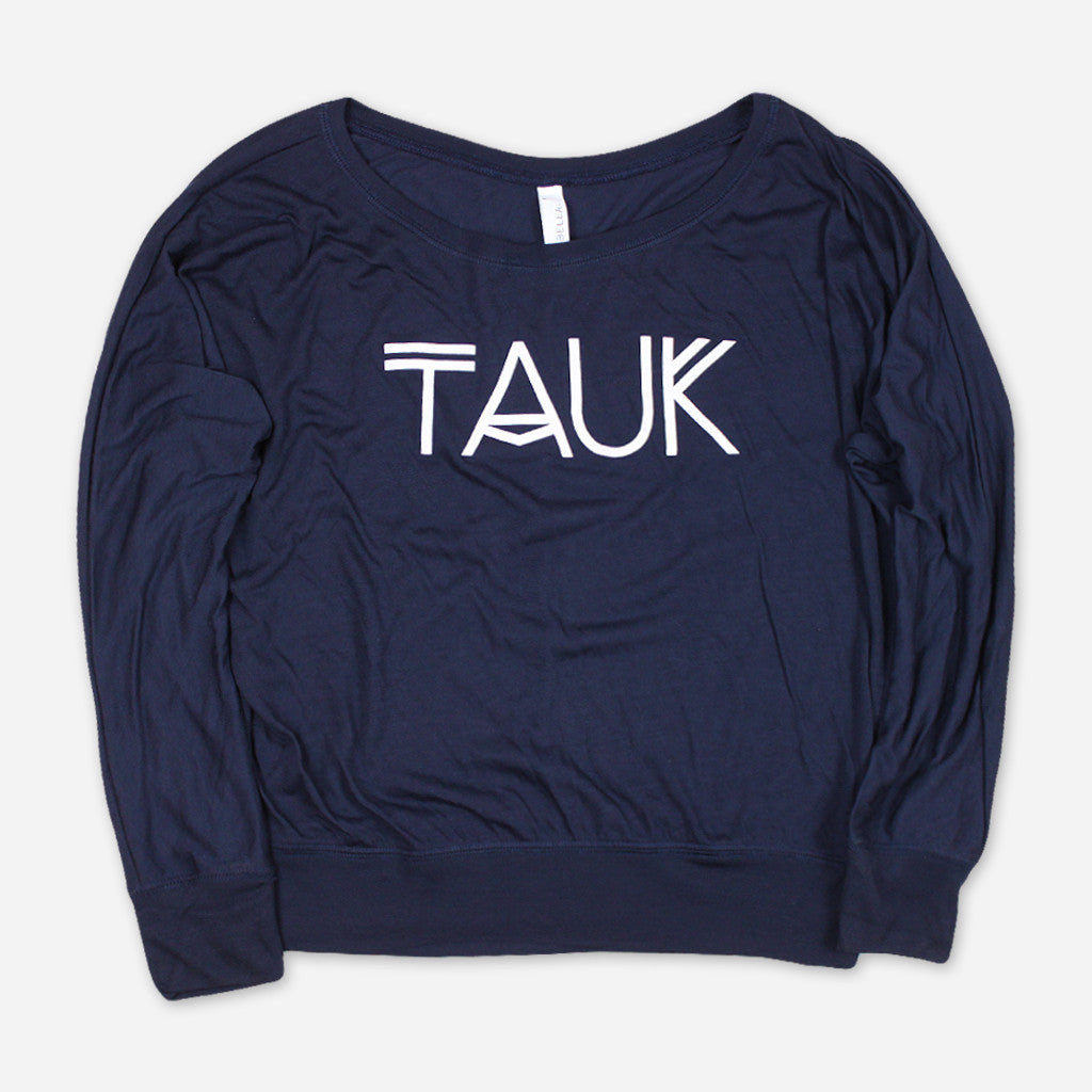 Logo Womens Navy Flowy Long Sleeve Shoulder T-Shirt - TAUK - Hello Merch