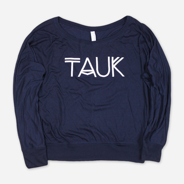 Logo Womens Navy Flowy Long Sleeve Shoulder T-Shirt by TAUK for sale on hellomerch.com