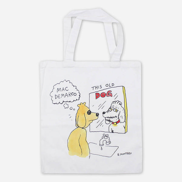 Dog Mirror White Canvas Tote Bag by Mac DeMarco for sale on hellomerch.com