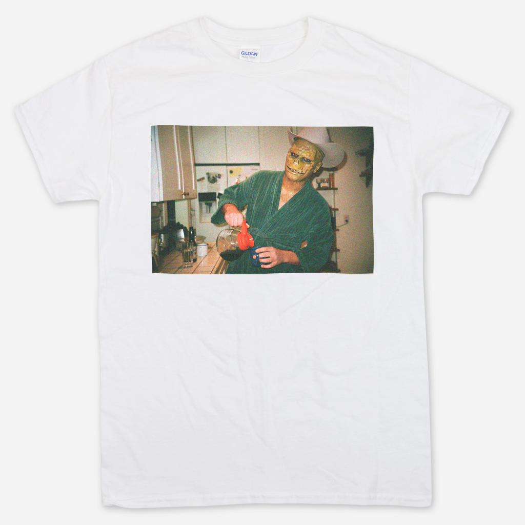 Lizard Man Coffee White T-Shirt