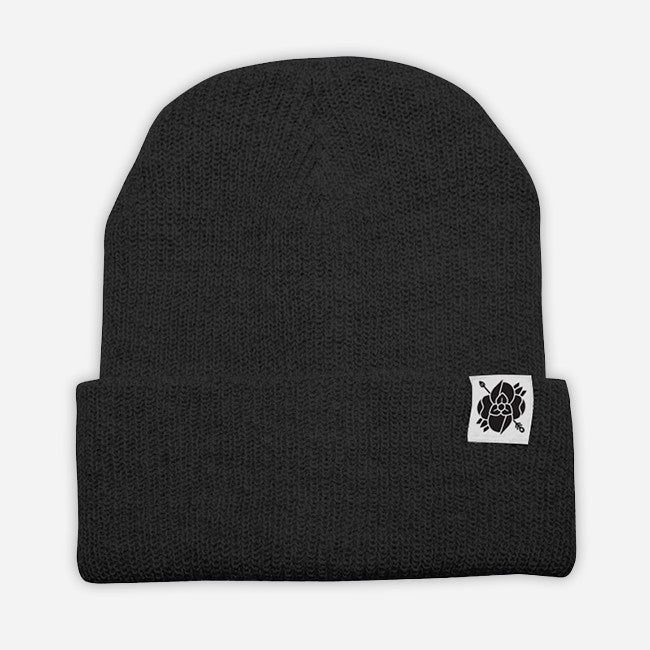 Flower Arrow Black Beanie