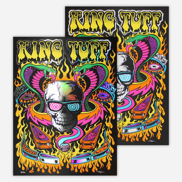 Limited Edition Pinball Black Light Posters by King Tuff for sale on hellomerch.com