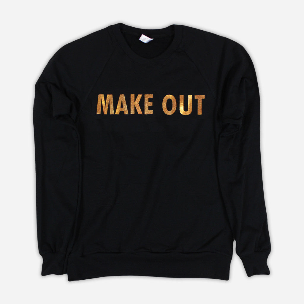 Make Out Black Fleece Raglan Sweatshirt