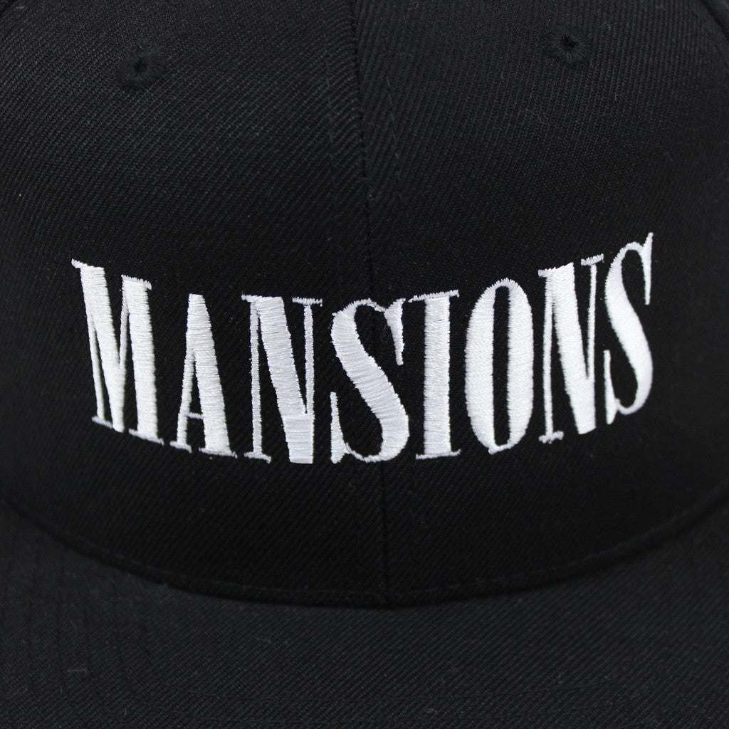 Stitched Logo Black Snapback Hat - Mansions - Hello Merch
