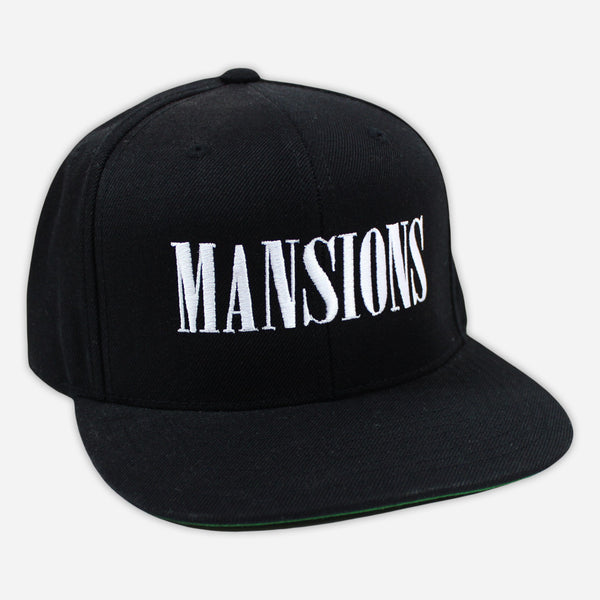 Stitched Logo Black Snapback Hat by Mansions for sale on hellomerch.com