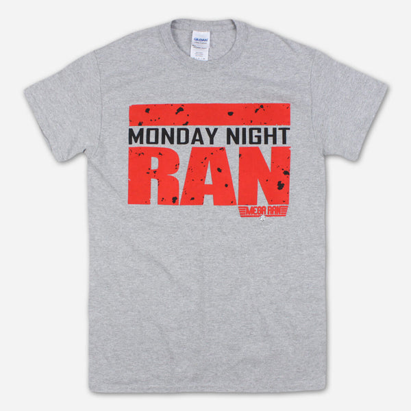 Monday Night Ran Heather Grey T-Shirt by Mega Ran for sale on hellomerch.com