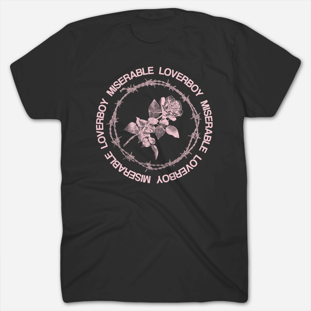 Loverboy Pink Rose Black T-Shirt - Miserable - Hello Merch