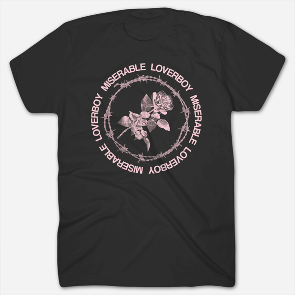 Loverboy Pink Rose Black T-Shirt by Miserable for sale on hellomerch.com