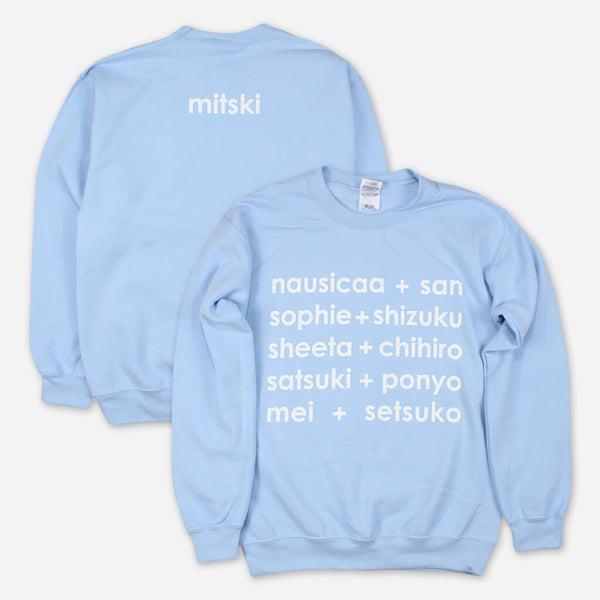 Miyazaki Light Blue Pullover Sweatshirt by Mitski for sale on hellomerch.com