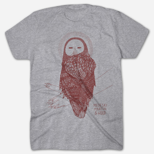 Owl Heather Grey T-Shirt by Medeski Martin & Wood for sale on hellomerch.com