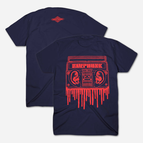 Phunkblaster 1.0 Navy T-Shirt by Earphunk for sale on hellomerch.com