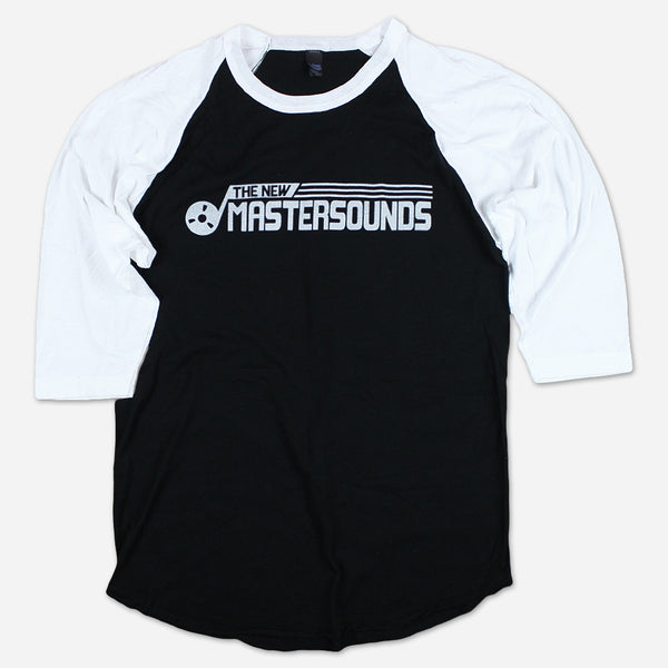 Tape Reel Black on White Baseball T-Shirt by The New Mastersounds for sale on hellomerch.com