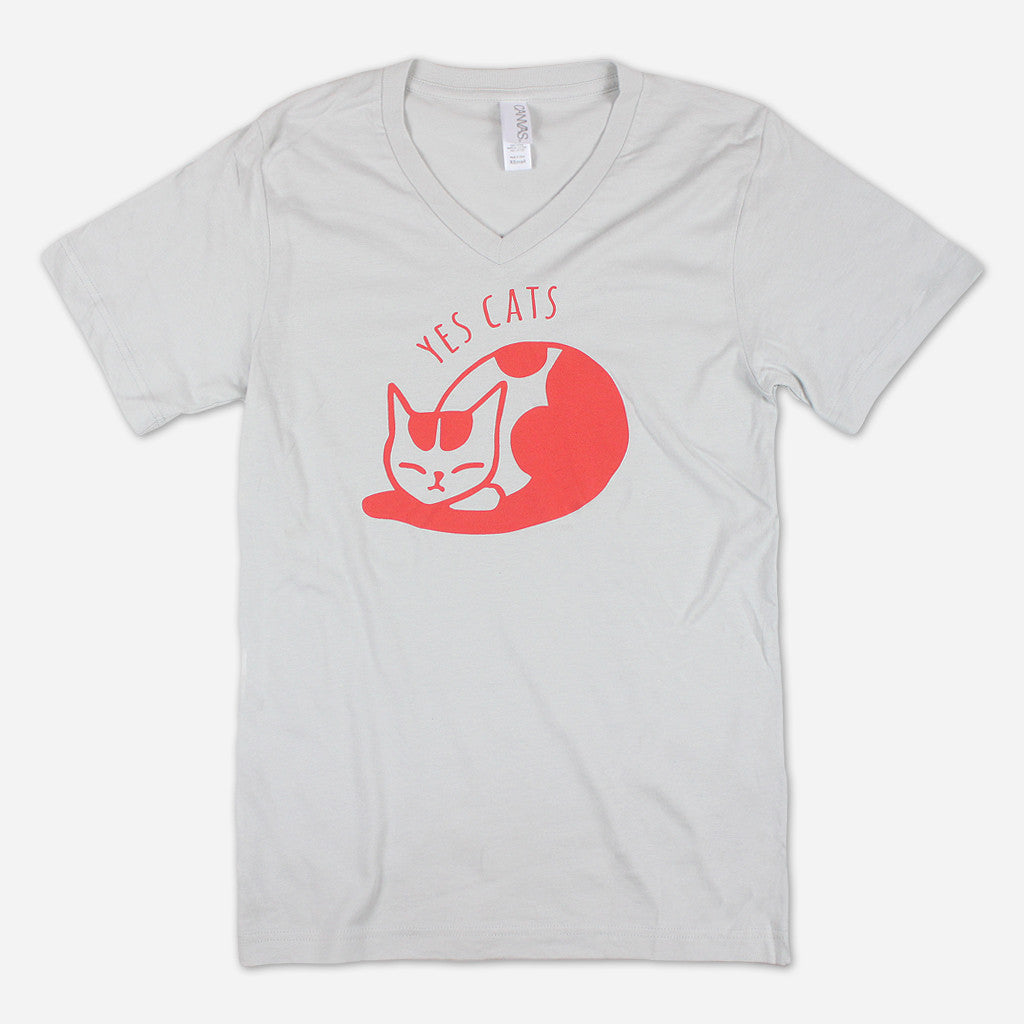 Yes Cats Silver V-Neck T-Shirt - Autostraddle - Hello Merch