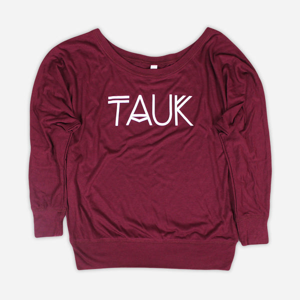 Logo Womens Maroon Flowy Long Sleeve Tee by TAUK for sale on hellomerch.com